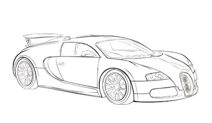 Car Sport Bugatti Veyron Coloring Page Auto Tekeningen Bugatti
