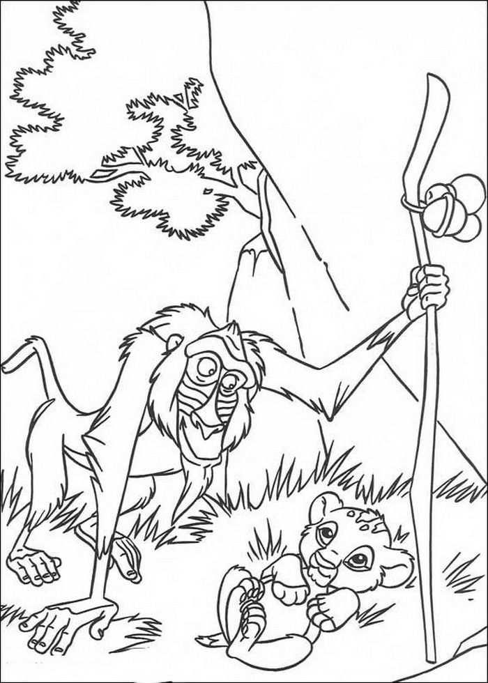 Kleurplaat Lion King Of De Leeuwenkoning Rafiki En De Net Geboren