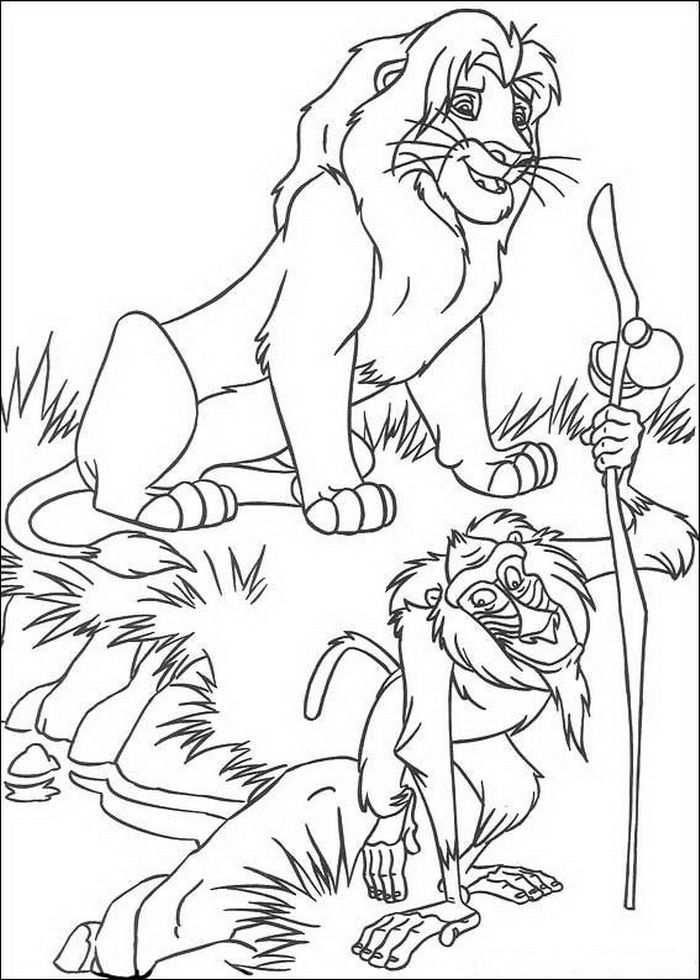 Kleurplaat Lion King Of De Leeuwenkoning Simba En Rafiki De Wijze