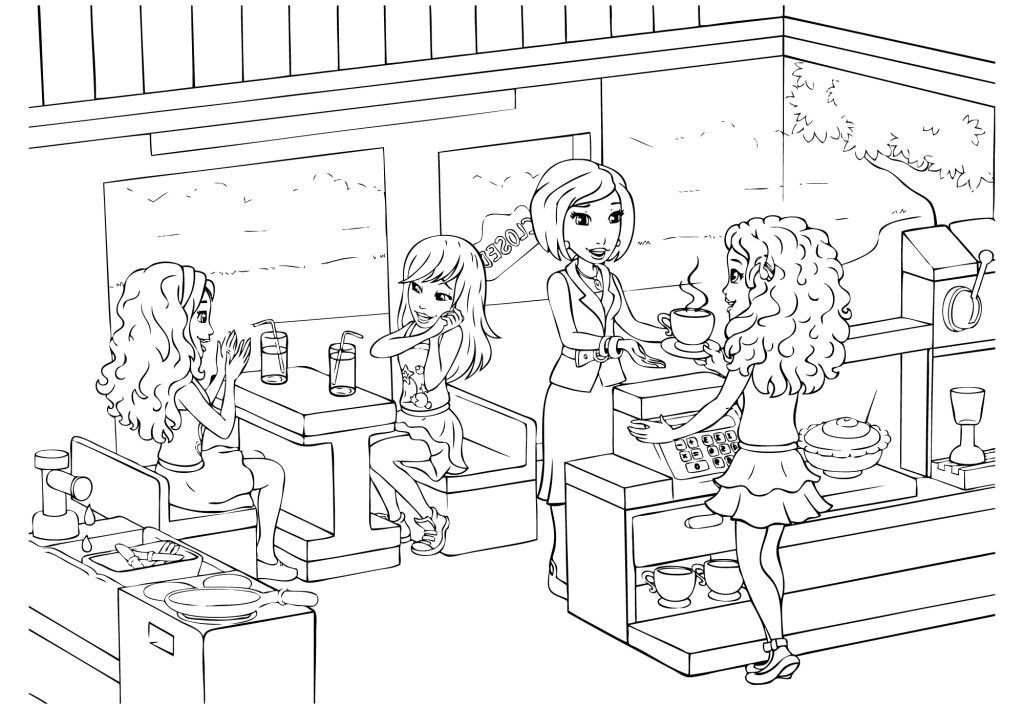 Lego Friends Coloring Pages At Cafe With Images Lego Coloring