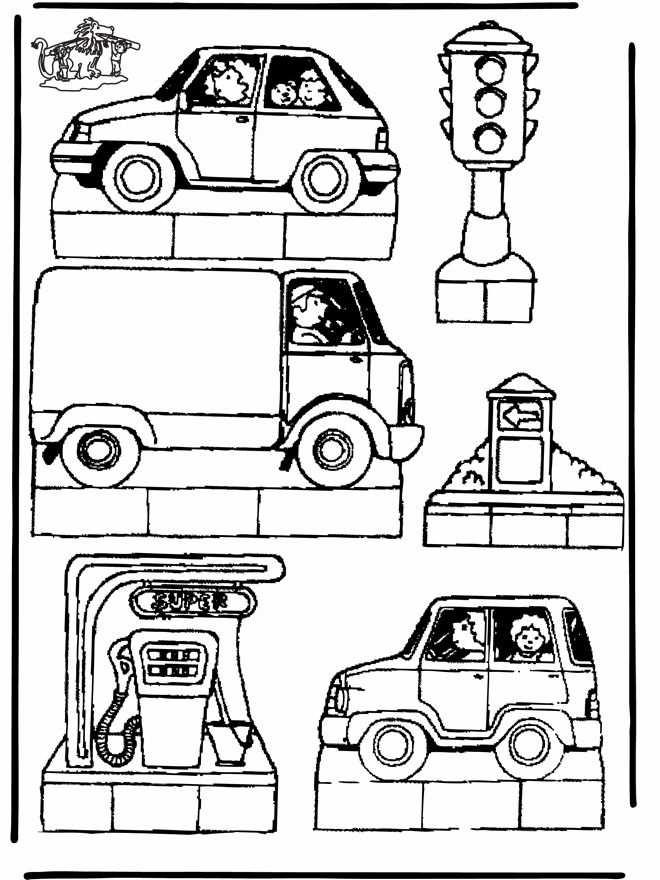 Verkeer Met Afbeeldingen Vervoer Thema Kleurplaten