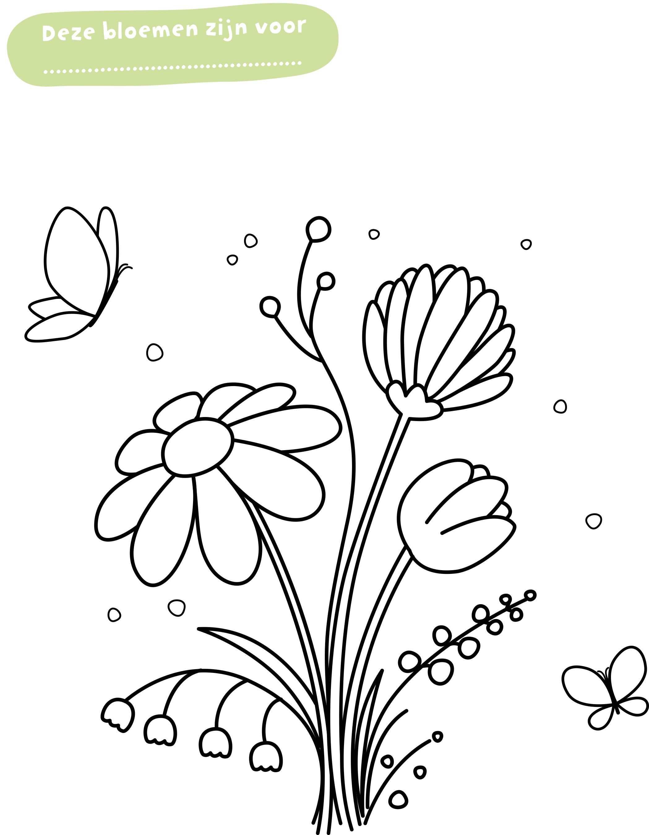 Deze Bloemen Zijn Voor Kleurplaat Van Pippo Met Bijbehorende