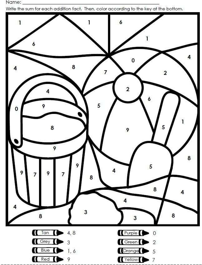 Kleurplaat Met Kleurencode Met Afbeeldingen Zomer Werkbladen