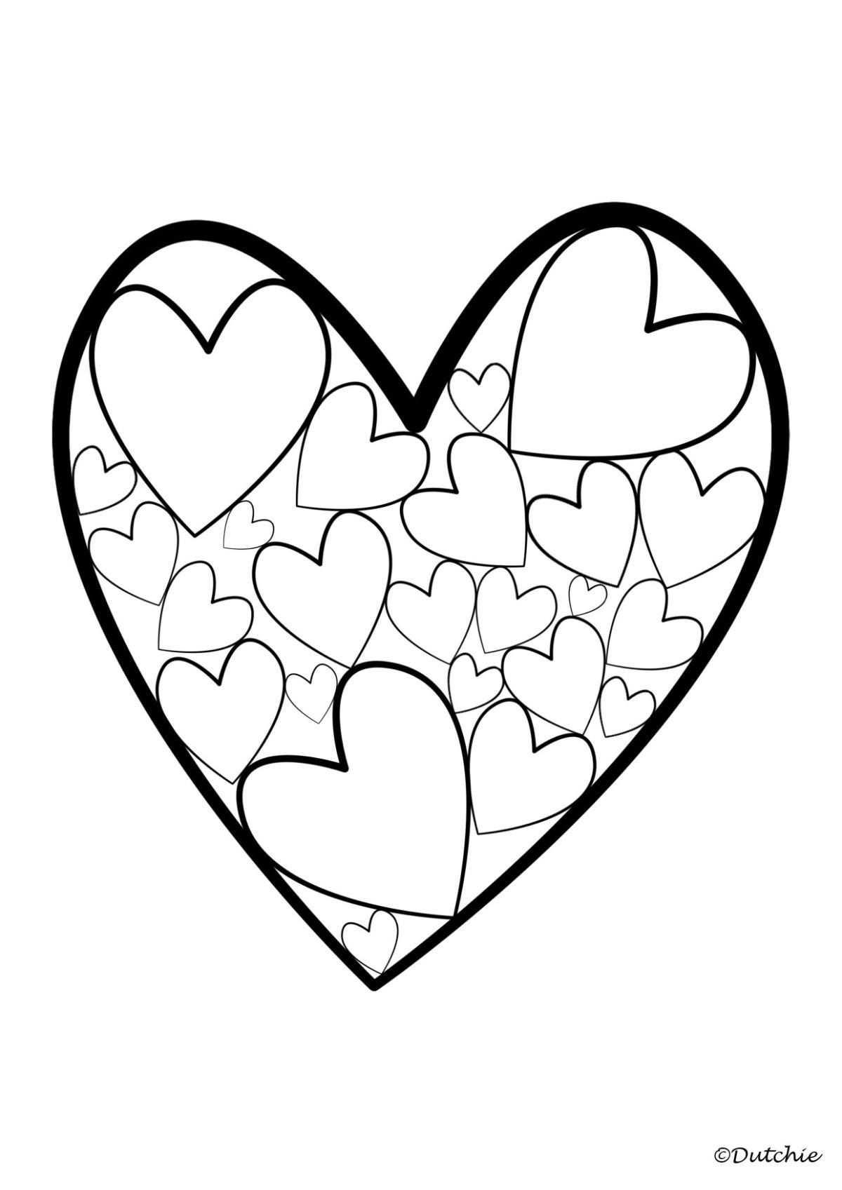 kleurplaat liefde hart