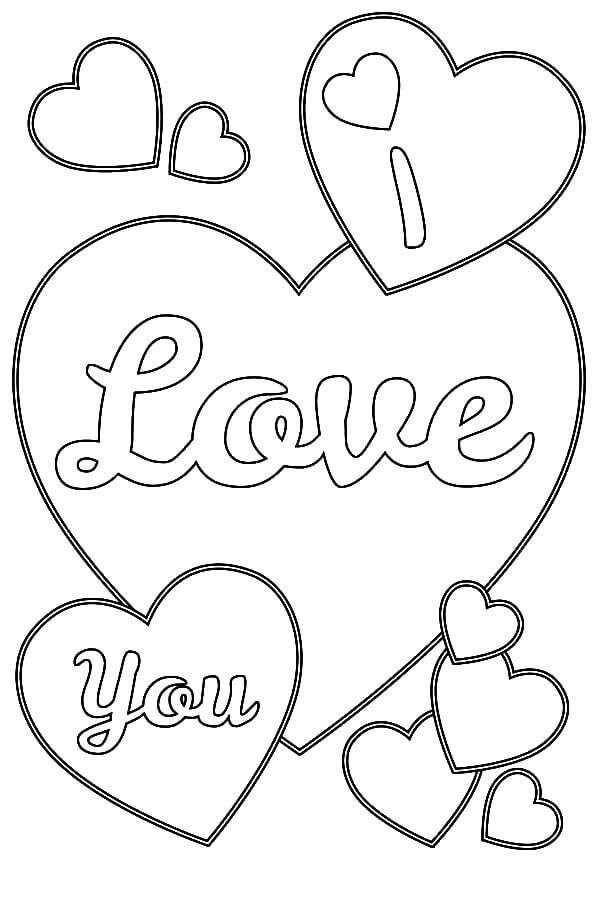 I Love You Heart Coloring Pages Kleurplaten