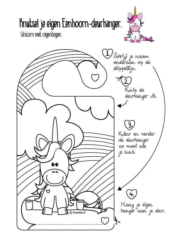 Diy Gratis Te Downloaden Deurhanger Kleurplaat Met Een Unicorn En