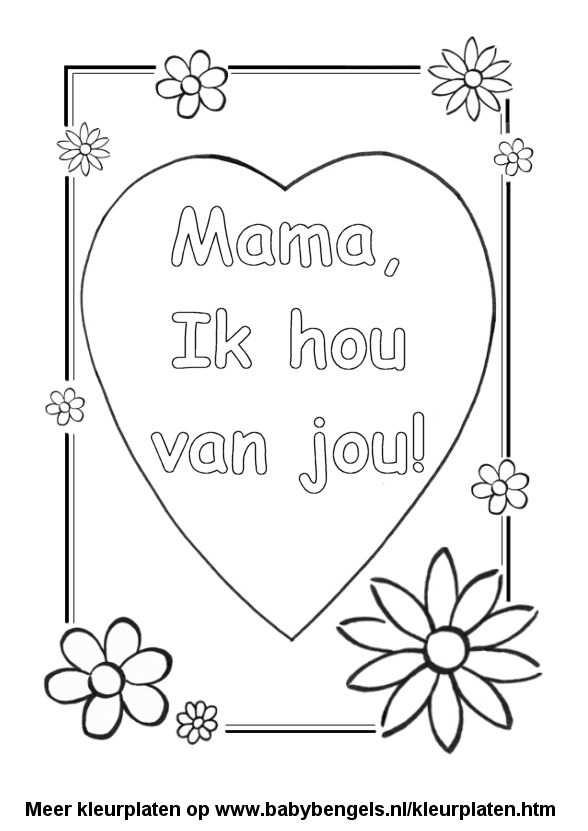 Kleurplaat Hart Valentijn Moederdag Vaderdag Met Afbeeldingen