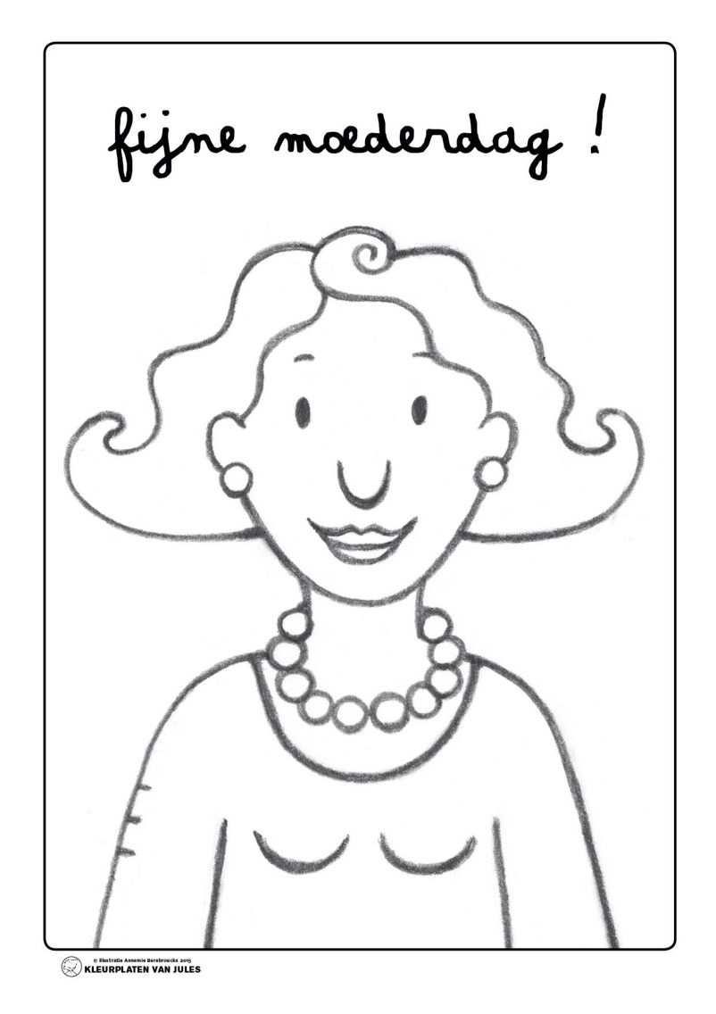 Kleurplaat Mama Jules Moederdag Moederdagideeen Knutselidee