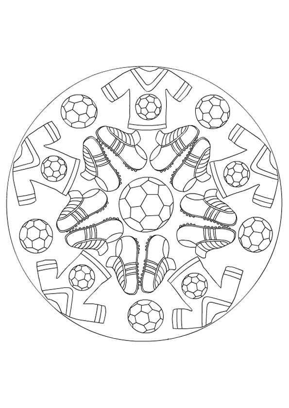 Kleurplaat Mandala Kleurplaten 5223 Voetbal Mandala