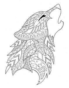 Kleurplaat Mandala Dieren Wolf
