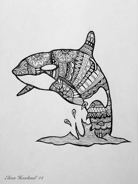 Print Of An Orca Whale Detailed Ink Drawing By Artwithelena