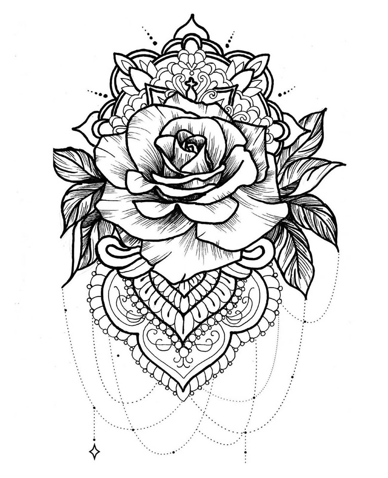 Mandala And Rose With Beautiful Petals Mandalas Coloring Pages