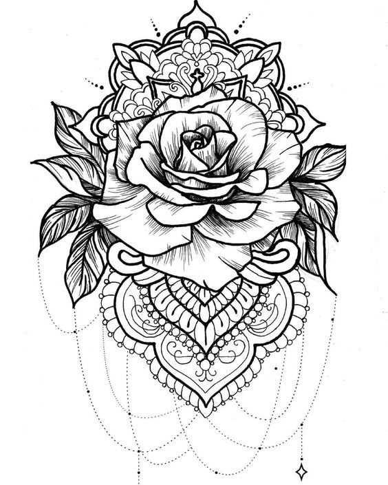 Greyscale Rose Mandala Tattoo Idea Tattoos Rose Tattoos Thigh