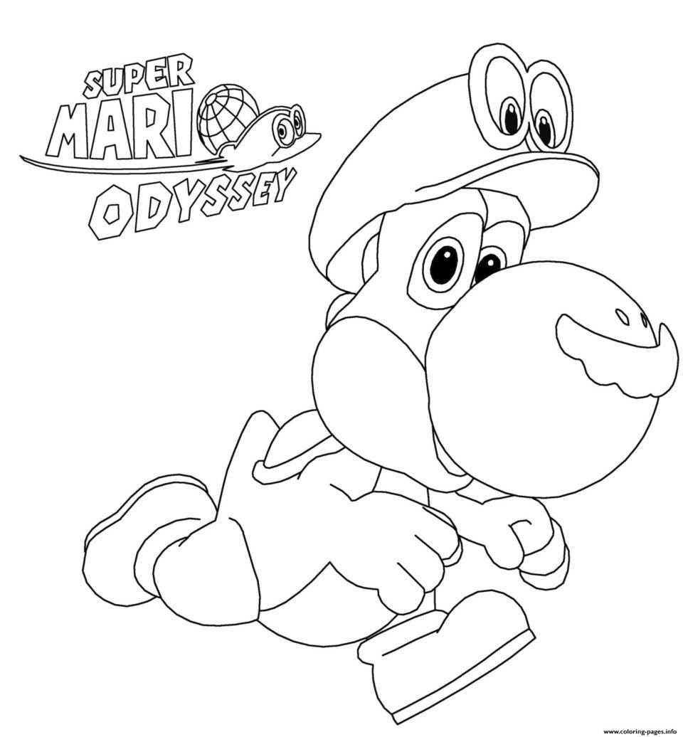 Mario Coloring Pages Super Mario Odyssey Yoshi Nintendo Coloring