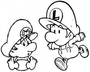 Baby Mario Baby Luigi 2 Kleurplaat With Images Mario Coloring