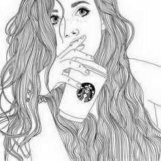 Afbeeldingsresultaat Voor Tekeningen Meisje Met Starbucks Met