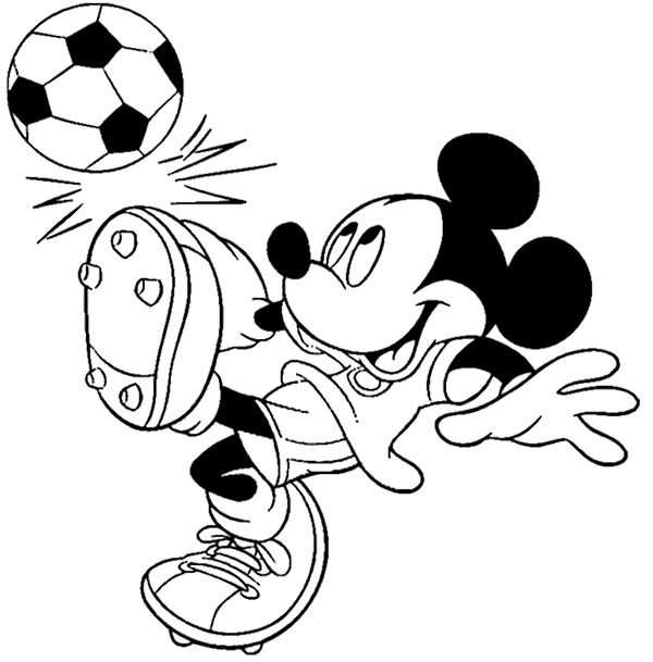 Mickey Mouse Playing Soccer Coloring Page Mickey Mouse Coloring