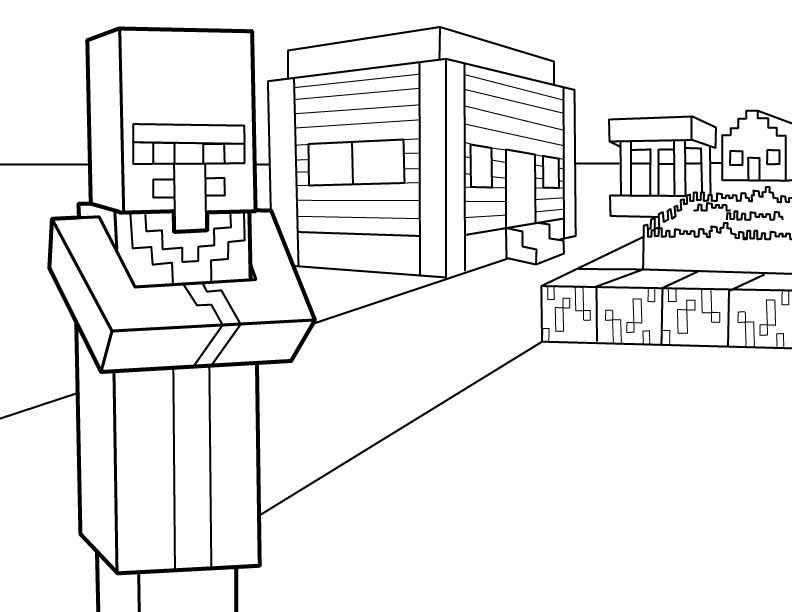 Villager Pdf Printable Coloring Page Minecraft With Images