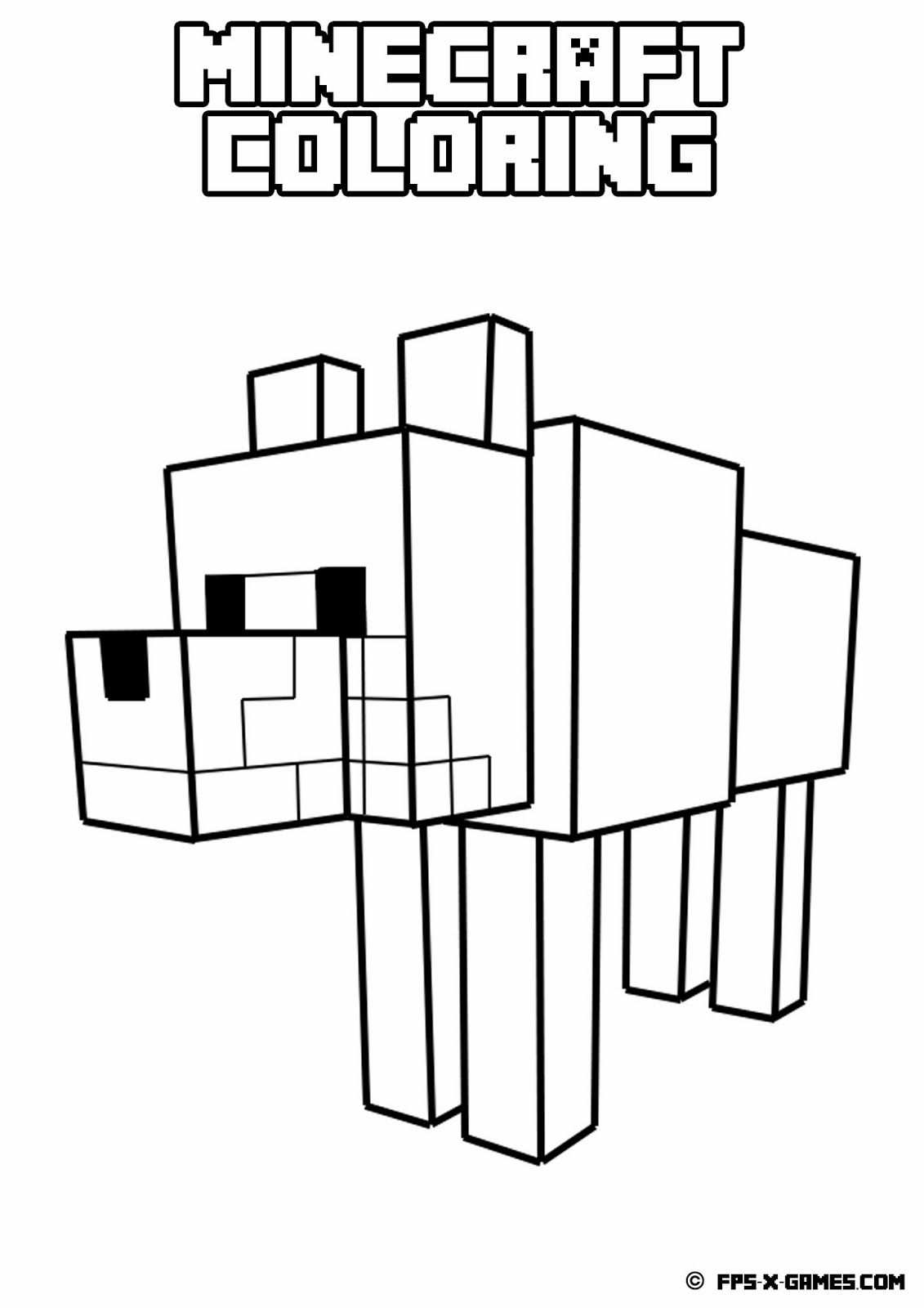 Minecraft Wolf Coloring Pages Minecraft Printables Minecraft