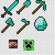 Perler Bead Minecraft Tool Pattern Strijkkralen Strijkparels