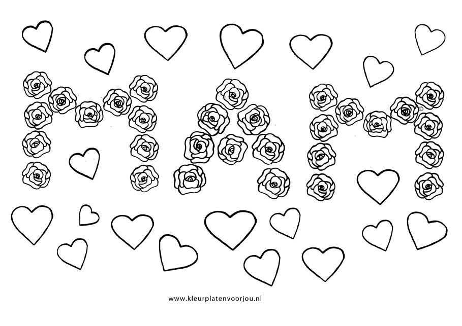 Kleurplaat Hart Valentijn Moederdag Vaderdag Moederdag