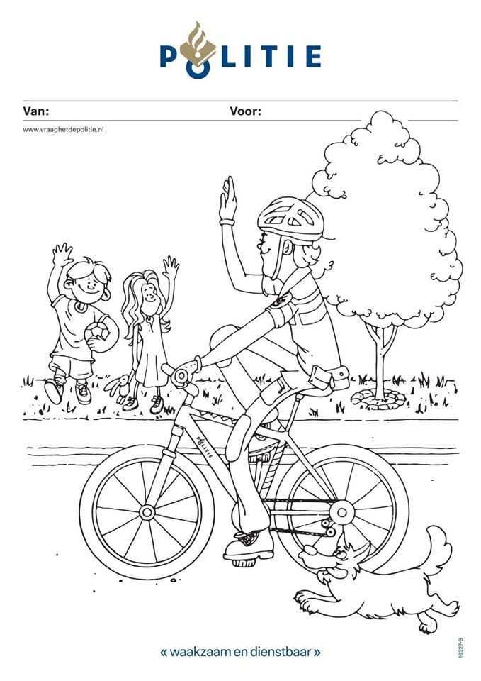 Politie Stimuleert Creatief Gedrag Kinderen Met Kleurplaat Rn7