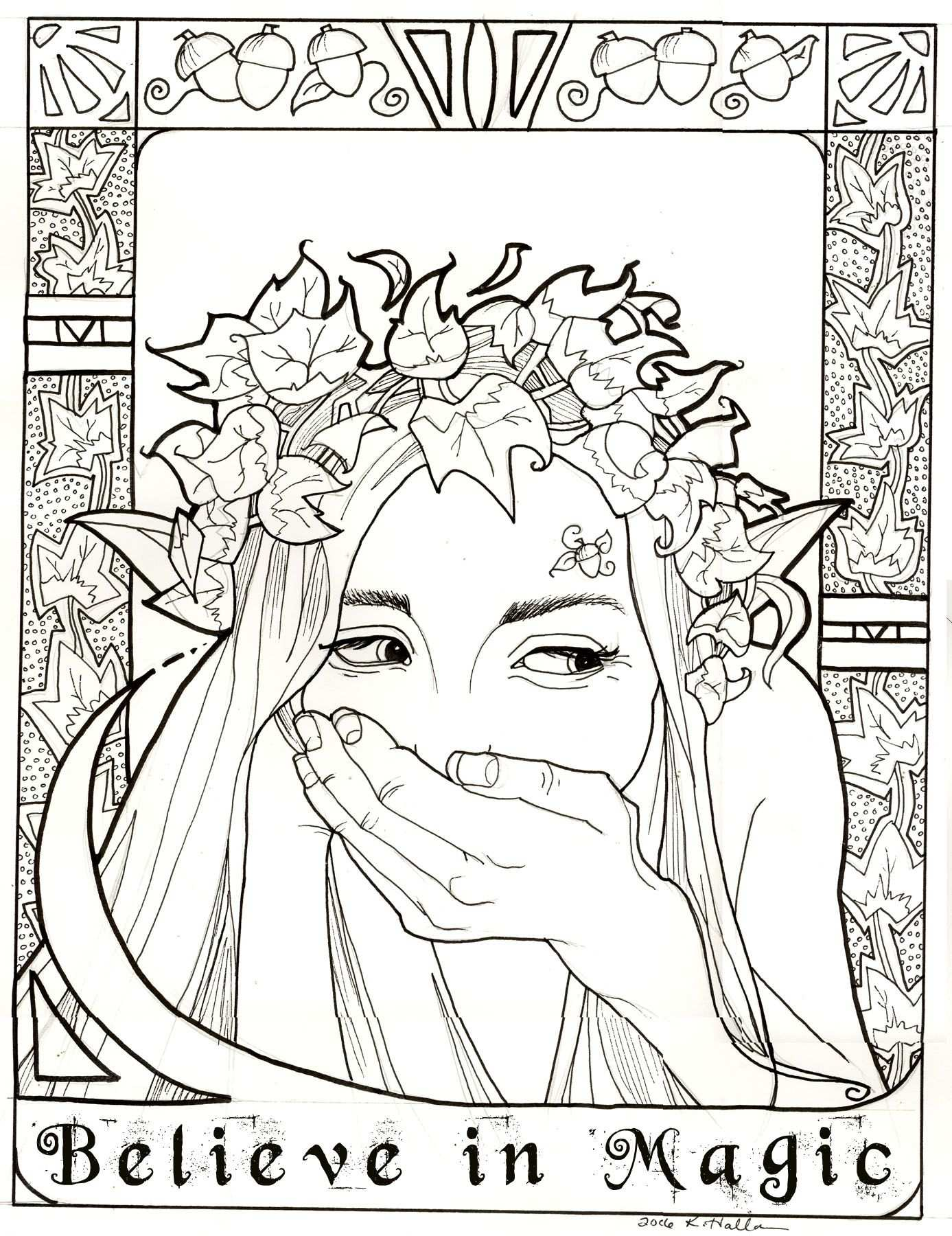 Believe In Magic Coloring Page Leafy Elf By Khallion Deviantart