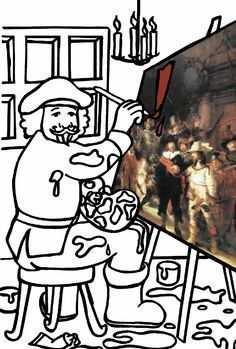 Kleurplaat Nachtwacht Rembrandt Schlidert Kidsnfunkids N Fun
