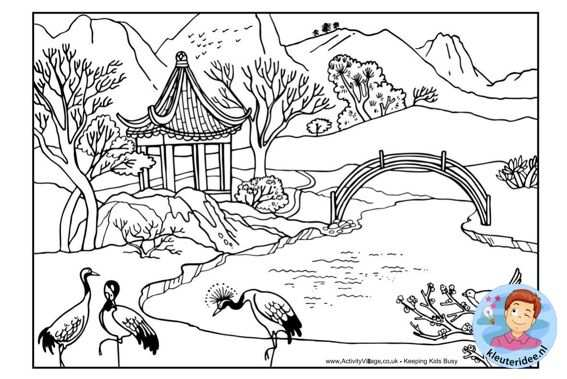 Kleurplaat Chinees Landschap Colorpage Chinese Landscape