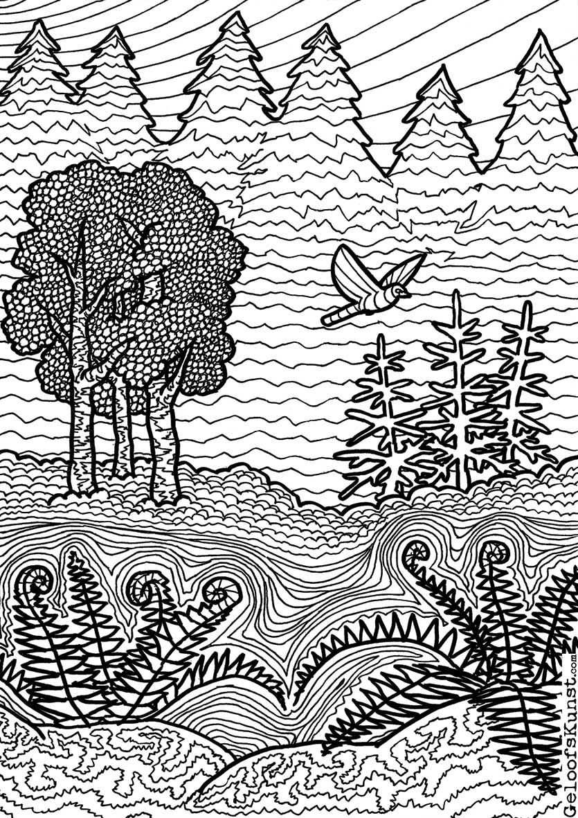 Forest Colouring Page Forest Coloring Pages Adult Coloring