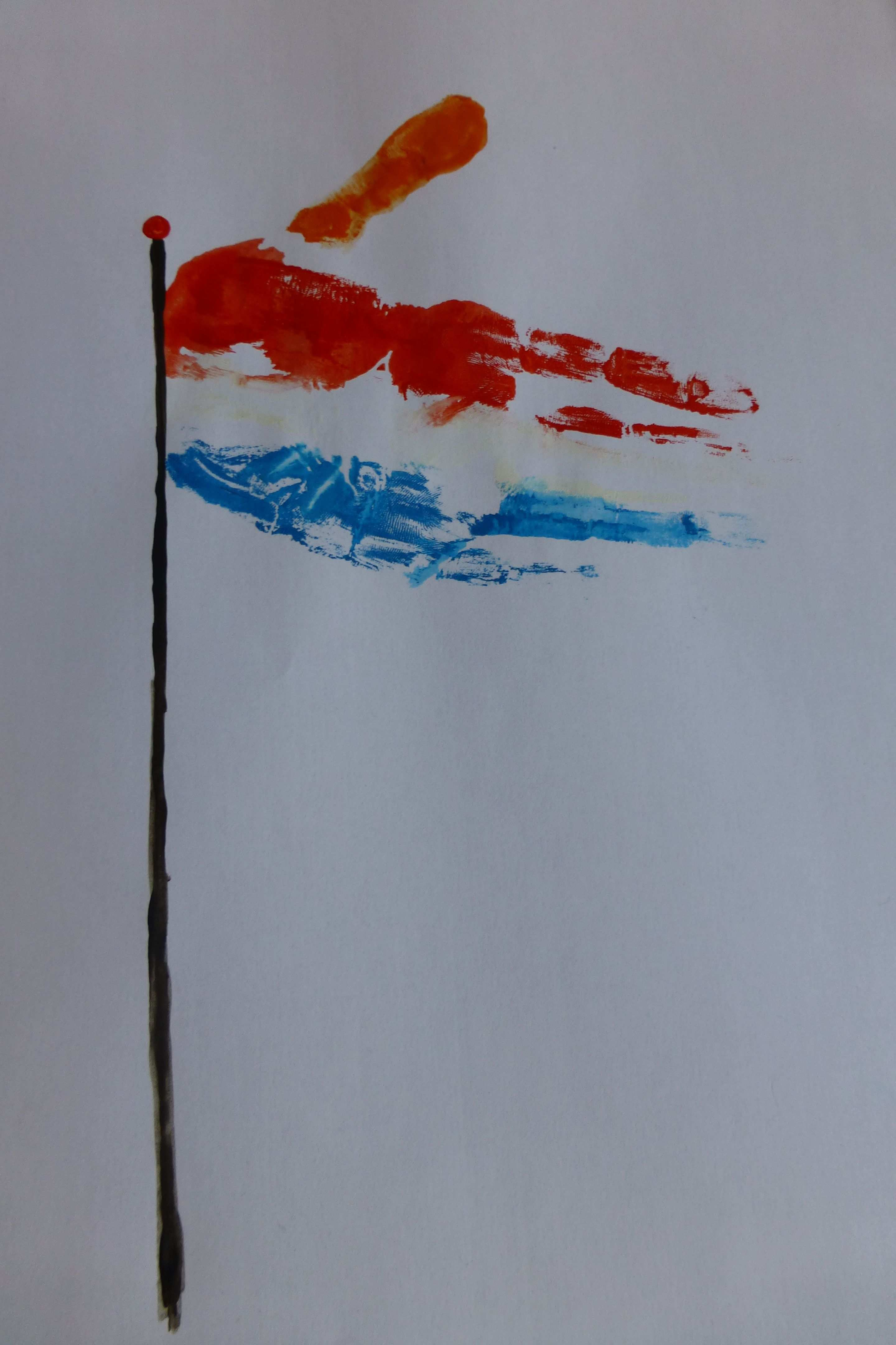 Handafdruk Nederlandse Vlag Met Oranje Wimpel Vlag Prints