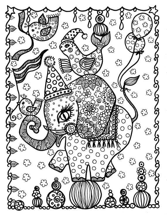 Circus Olifant Kleurplaat Pagina Instant Download Digi Stempel