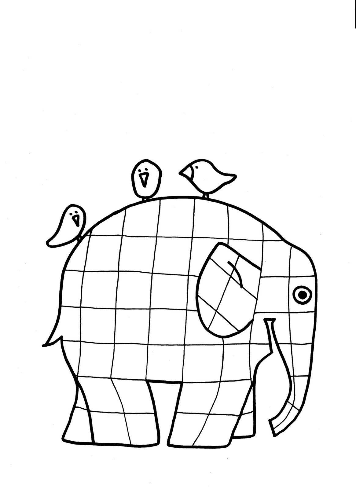 kleurplaat olifant elmer