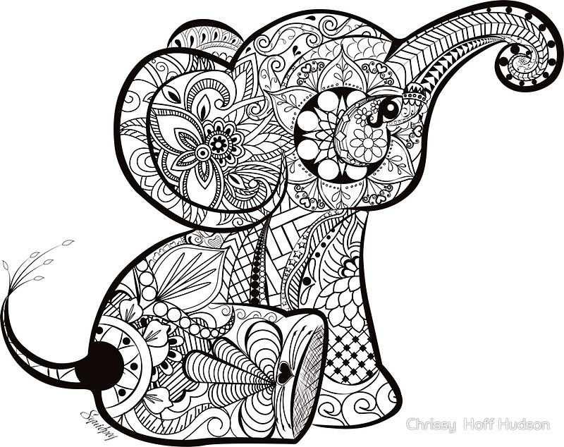 Olifantje Zen Lijntekeningen Illustrator Mandala Kleurplaten