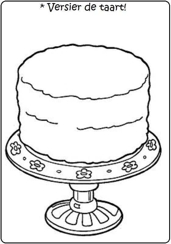 kleurplaat oma jarig taart