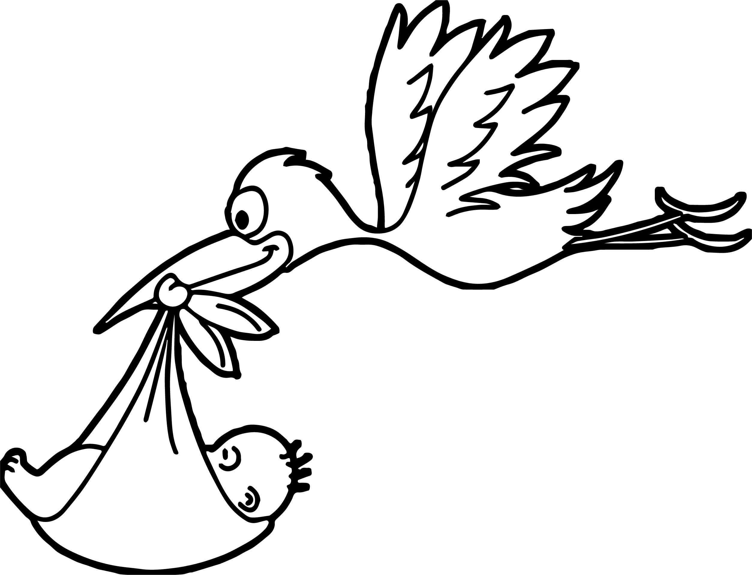 Awesome Stork Flying Baby Coloring Page Met Afbeeldingen