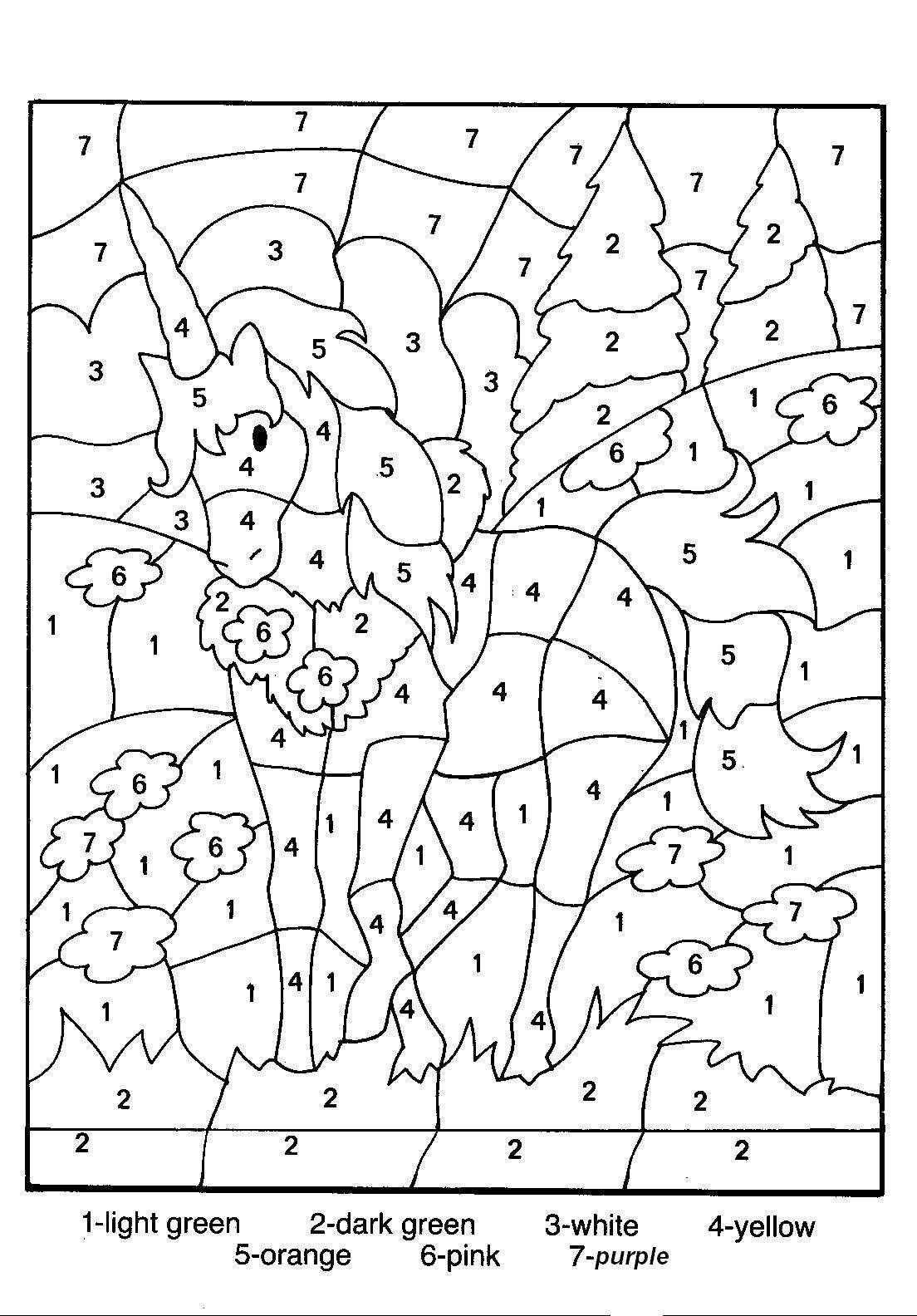 kleurplaat op nummer eenhoorn