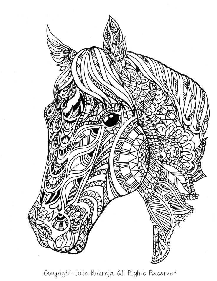 Horse Adult Coloring Page Gift Wall Art Mandala Zentangle With