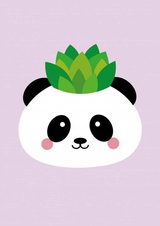 Postkaart Panda Planter Pot