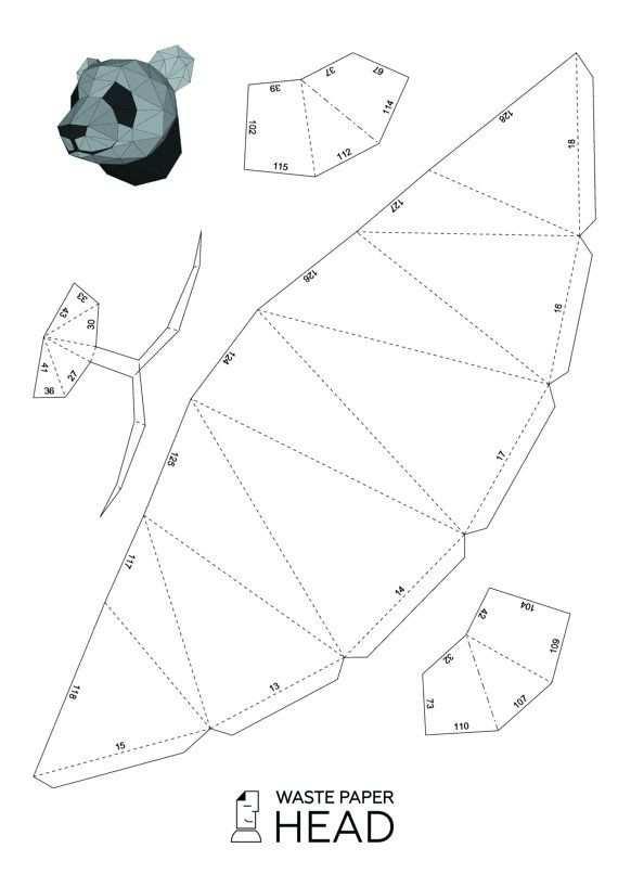 01 Papercraft Panda Head Printable Digital Template Con