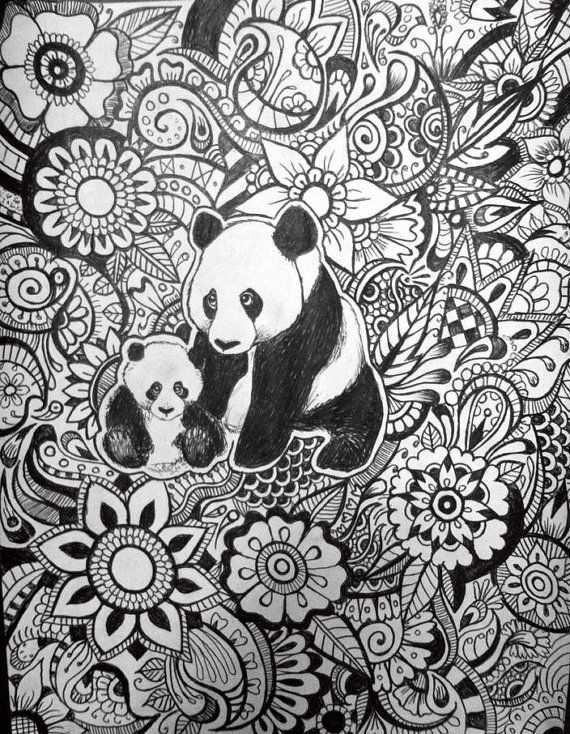 Panda Floral Design By Byjamierose On Etsy Kleurplaten Kleuren