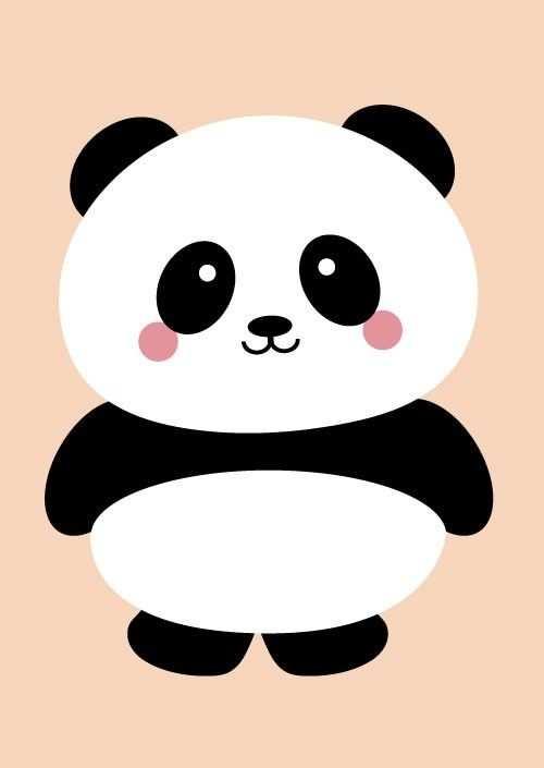 Postkaart Panda Peach Panda Kunst Leuk Behang Schattige Tekeningen