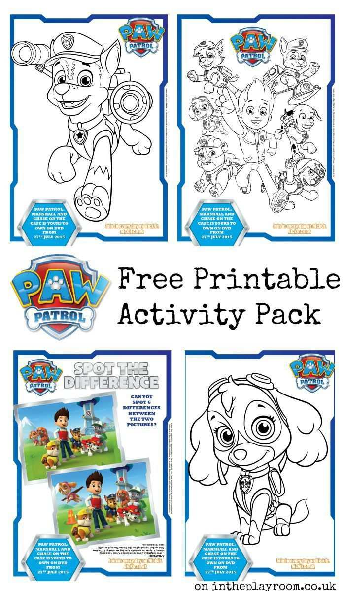 Paw Patrol Colouring Pages And Activity Sheets With Images Paw