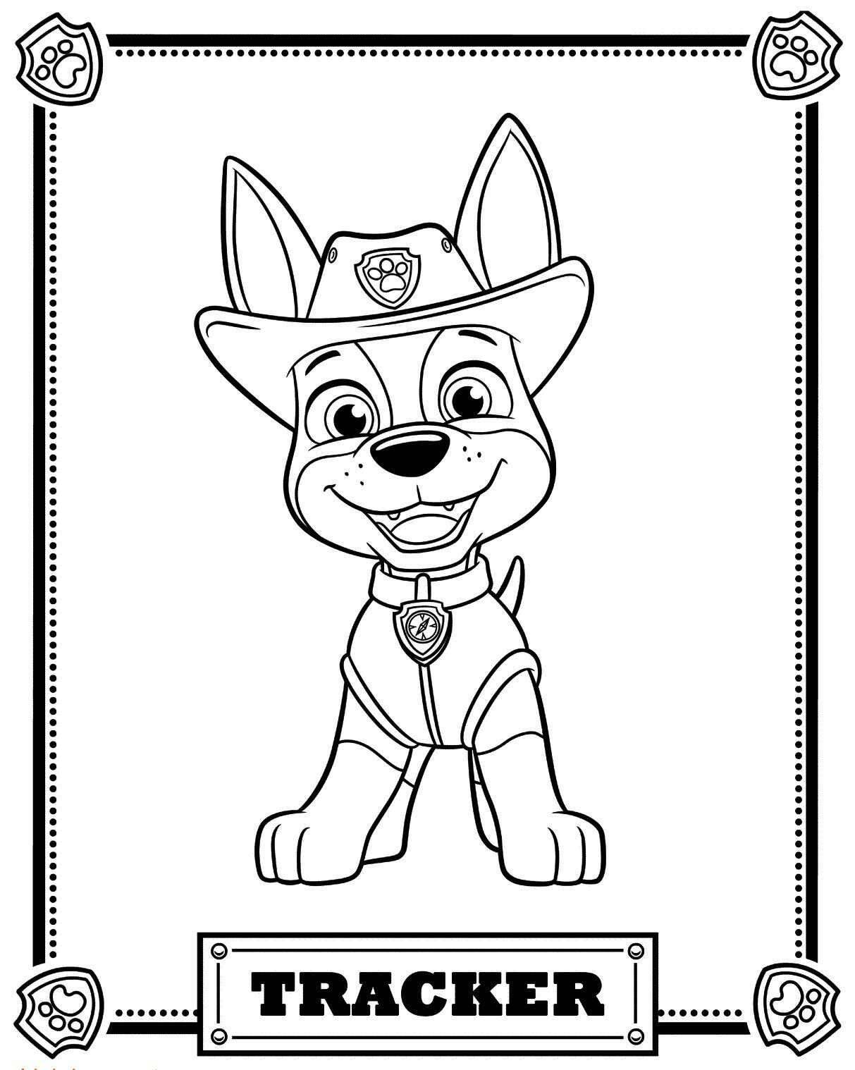 Tracker Paw Patrol Front With Images Paw Patrol Coloring Pages