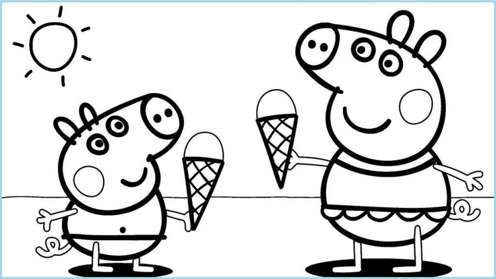 kleurplaat peppa pig ijsjes