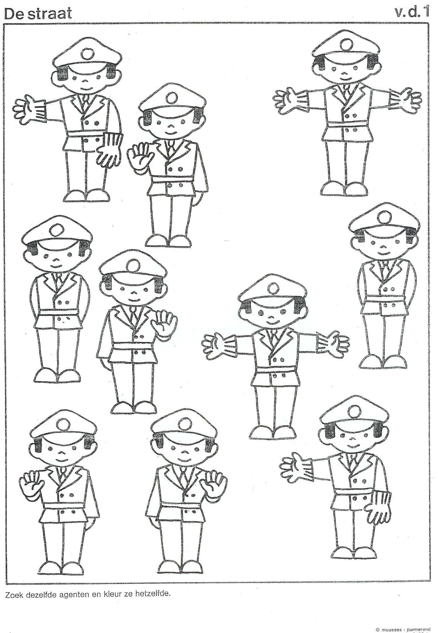 Kleurplaat Politie Peuterspeelzaal Ideeen Thema Politie