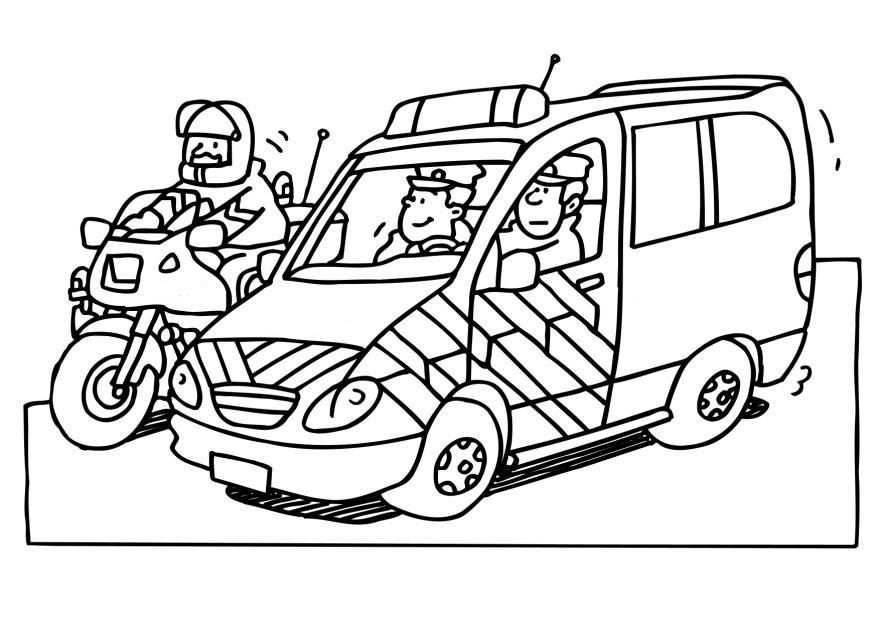 kleurplaat politie jeep