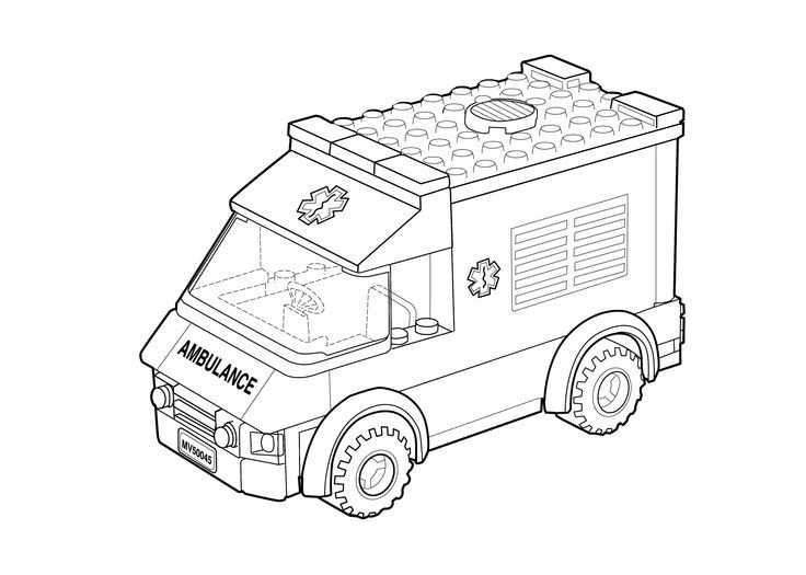 Lego Ambulance Car Coloring Page For Kids Printable Free Lego