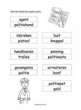 Werkblad Politie Langste Woord Met Afbeeldingen Politie