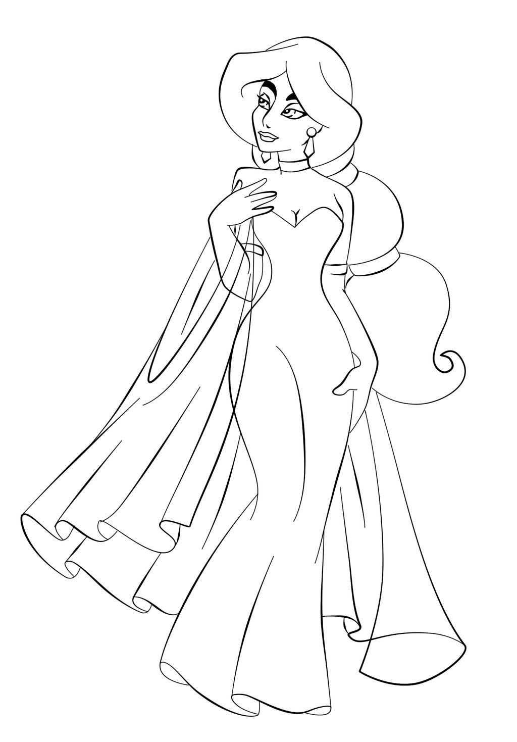 kleurplaat prinses jurk